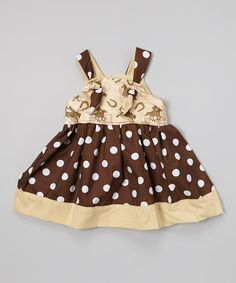 Take a look at the Petite & Posh Brown Polka Dot Western Knot Tie Dress - Toddler & Girls on #zulily today!