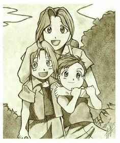 Little Ed, little Al and Trisha Elric from Full Metal Alchemist. + The Elric Family + Anime D, Fanarts Anime, Anime Love, Anime Characters, Edward Elric, Fullmetal Alchemist Brotherhood, Chibi, Transmutation, Elric Brothers