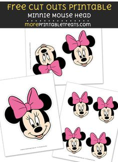 Free Minnie Mouse Head Cut Out Printable with Dashed Lines