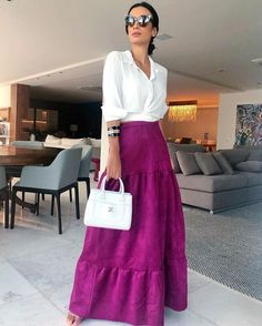 Mode Outfits, Chic Outfits, Spring Outfits, Fashion Outfits, Fashion Hacks, Cool Winter, Color Combinations For Clothes, Maxi Skirt Outfits, Mode Chic