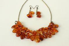 Amber gemstones Necklace&Earrings set