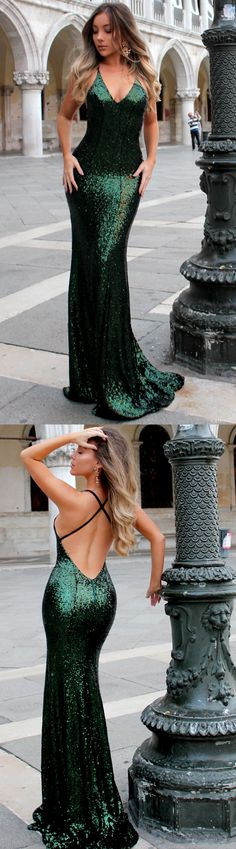 Sequin Prom Dress, Sexy Backless Prom Dress, V-Neck Prom Dress, Sparkle Prom Dress #okbridal.co.uk #promdress