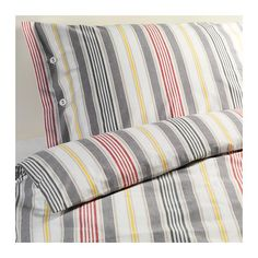 IKEA+AKERFRAKEN+Twin+DUVET+COVER+Set+STRIPES+Red+Gray+Yellow+Yarn+Dyed+ÅKERFRÄKEN