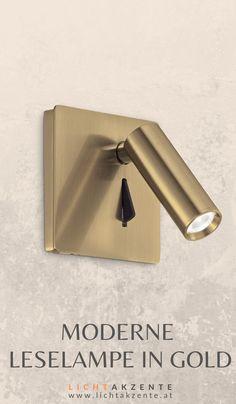 """Schlafzimmer Wandlampe """"Lite"""" in Gold-Messing mit LED Leselicht erhältlich bei Lichtakzente. Der LED Strahler kann nach vorne und seitlich gedreht werden. Die Bettlampe kann neben dem Bett als Nachttischlampe ins Schlafzimmer oder auch als Wand Leselampe ins Wohnzimmer montiert werden. // Wandleuchte Schlafzimmer Bett, Bett Lampe Wand #leselampe #lampen und leuchten #beleuchtung #lampe #lichtakzente Messing, Sconces, Wall Lights, Lighting, Gold, Interior Design, Home Decor, Headboard Lamp, Modern Light Fixtures"""