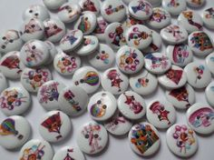 50 x 2-Hole Printed Wooden Buttons - 15mm - Round - Fun At The Fairground