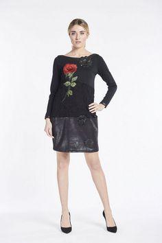 jurk met bloem-details