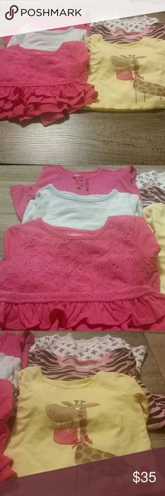 Six long sleeve shirts. Size 3T Pink lace with ruffles, Garanimals; Yellow giraffe, gum balls; pastel stripe, Cherokee; Pink leppard, jumping beans; white, Old Navy;  and pink pleated with buttons J Khaki. All shirts  either worn once or in great shape see description Shirts & Tops Blouses
