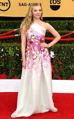 Natalie Dormer wears feminine florals by Naeem Khan.