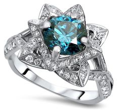 1.80ct Blue Round Diamond Lotus Flower Engagement Ring 14k White Gold / Front Jewelers