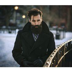Luke Ditella - very black full thick beard and mustache beards bearded man men mens' style peacoat pea coat winter snow handsome