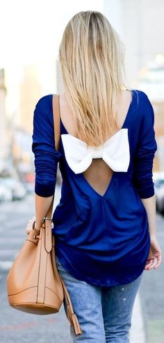 Cobalt blue and bow