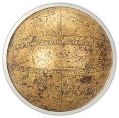 Brass celestial globe by Muhammad ibn Mahmud ibn 'Ali al-Tabari al-Asturlabi (Iran, 1285-6 — the sixth oldest surviving celestial globe)