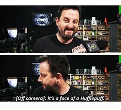 Geoff is such a hufflepuff and I love it Roosterteeth Rwby, Roster Teeth, Achievement Hunter, Lets Play, Serial Killers, Hunters, Video Game, Nerd, Fandom