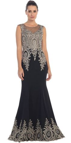 Unique Red Carpet Gown Black Gold Floor Length Cap Sleeve Embroidery