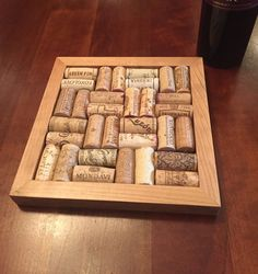Decorative trivet made from wine corks. The corks are glued to a stained wood base and the dimensions are Wine Cork Trivet, Wine Cork Crafts, Hobbies And Crafts, Diy And Crafts, Cork Art, Hot Pads, Fine Furniture, Wine Corks, Projects