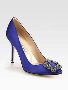 Manolo Blahnik Hangisi Jewel Satin Point-Toe Pumps (aka the shoe Big used to propose to Carrie... again)