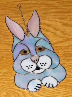 Stained Glass Suncatcher - Blue Bunny Rabbit, Easter Bunny, Original Design, signed Handmade Original