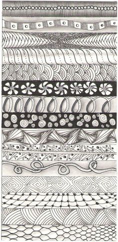 pattern strip 2  #ZentangleDesign  #sampler - pen & ink drawing of free-form patterns