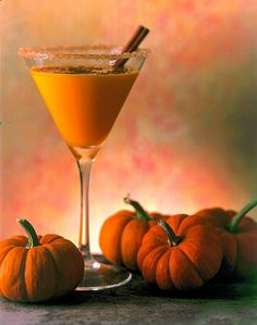 NOW i have seen everything made with pumpkin... Pumpkin Martini = 3 oz Pumpkin liqueur+1 oz Captain Morgan+1 dash half-and-half+Cinnamon stick & rimmed glass for garnish