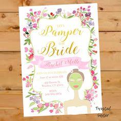 Spa Invitation, Bridal Shower Invitation, Bridal Shower Invite, Floral Watercolor, Spa Day Invitation, Spa Bridal Shower, Spa Baby Shower by TwistedSisterShop on Etsy
