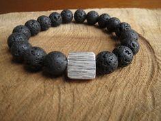 Black Lava Bracelet,Simple Black Bracelet, Sterling Silver Bracelet, Chunky Lava Bracelet, Karen Hilltribe Sterling Silver,Geometric Jewelry on Etsy