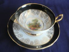 REGENCY BONE CHINA GARDEN SCENE IN BLUE AND BLACK BORDERS TEA CUP AND SAUCER