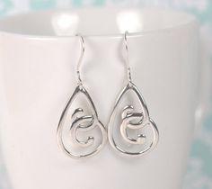 Sterling Silver Swirl Teardrop Earrings Silver by TheresaRose