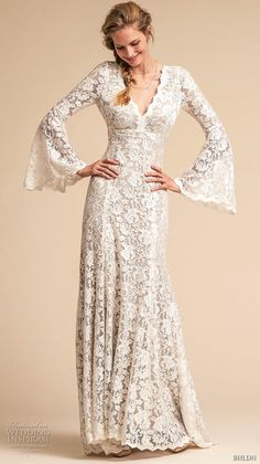 ec6981ef74d9 bhldn spring 2018 bridal long lantern sleeves v neck full embellishment  elegant vintage bohemian modified a