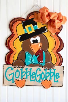 Thanksgiving door hanger fall door hanger fall decor turkey