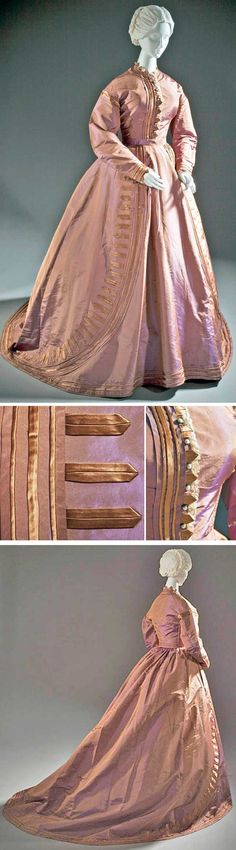 Dress, English, ca. 1865. Silk taffeta and silk satin with machine-made lace. Los Angeles County Museum of Art