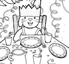Kleurplaat Rikki is Jarig - Uitgeverij Clavis Preschool Christmas, Colouring Pages, Vintage Paper, Childrens Books, Party Time, Happy Birthday, Snoopy, Projects, Cards