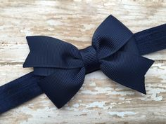 Navy blue headband with matching 3 inch bow - navy blue bow, newborn headband, baby headband by BrownEyedBowtique on Etsy https://www.etsy.com/listing/114146509/navy-blue-headband-with-matching-3-inch