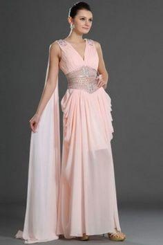 Hottest Chiffon V-Neck Natural Pink Cheap Chiffon Prom Dresses UK