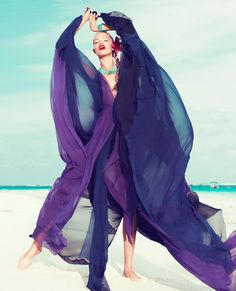 bleu dress HAILEY CLAUSON for HARPER'S BAZAAR march 2012