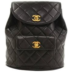 Preowned Chanel Black Quilted Lambskin Leather Medium Backpack Bag (11,625 SAR) ❤ liked on Polyvore featuring bags, backpacks, black, flap backpack, chanel backpack, quilted backpack, string bag and flap lock bags