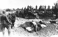 Before being shot, the victims had to dig their own grave.     Exact place and date unknown