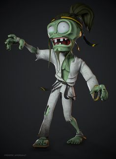 Here's an art test I did for EA just a few weeks ago. Had 5 days to sculpt the full character. I had the freedom to change what I didn't like and keep what I did while still retaining the style of the character. Art Test, Zombie Art, Karate, Sculpting, Concept Art, Artwork, Fictional Characters, Zombies, Plants