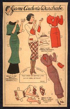 1930's Uncut Jane Arden Newspaper Paper Doll 2202 | eBay