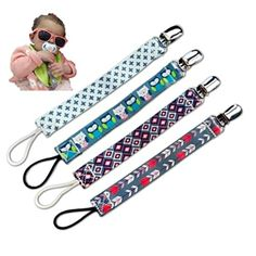 Pacifier Clip by Koolbabyesentials For PacifierTeething Toys Unisex Designs 4 Soft Polyester Premium Quality Bright Fashionable Colors Pacifier Clips Perfect for Baby Shower Gift * You can find more details by visiting the image link.