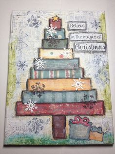 Christmas Mixed Media Canvas Artwork w/Stand