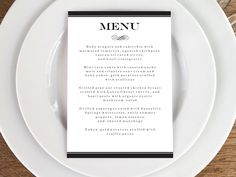 An elegant black and white printable menu template from e.m.papers. Easy to make. Just download the PDF, enter your text, print and cut.