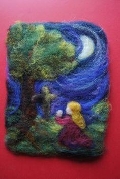 Talleres de fieltro, madrid, cursos artesania, cursos fieltro, fieltro artesanal, fieltro humedo,  Cuadrod de lana cardada