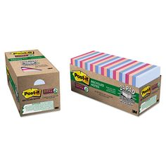 Post-it Notes Super Sticky Recycled Notes in Bali Colors, 3 x 3, 70-Sheet, 24/Pack, Multi Color