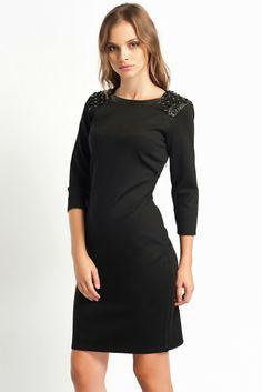 90a5fc1558b51 siyah dar kesim elbise, omuzları parlak taşlı koton 2014 #koton #elbise # 2014
