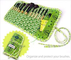 Makeup Brush Roll-up Case with Secret Pocket. Can also be made for crochet needles.