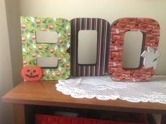 Halloween crafts, paper mâché letters, scrapbook paper & wooden accents