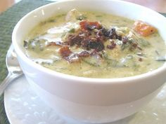 Creamy Chicken and Spinach Artichoke Soup-  I really want to try this one  To see the recipe just scroll down to the middle of the page