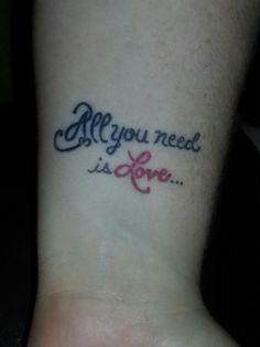 All you need is love. . .  Wrist tattoo