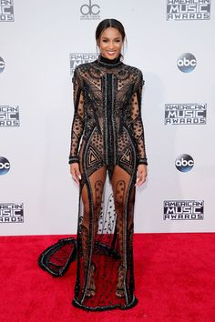(via Ciara from 2015 American Music Awards: Red Carpet Arrivals) The good nightmare dress? Congrats Ciara you broke me! American Music Awards 2015, Ciara Style, Outfits Inspiration, Moda Chic, Red Carpet Looks, Red Carpet Dresses, Sheer Dress, Sequin Dress, Dress Long