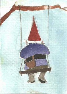 I don't know why but I find this watercolor gnome painting very peaceful. Watercolor Christmas Cards, Watercolor Cards, Watercolor Paintings, Watercolours, Gnome Paint, Scandinavian Gnomes, Fairy Art, Xmas Cards, Faeries
